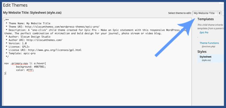 Change CSS in WordPress child theme