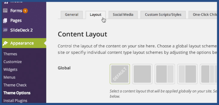 how to change a page layout on wordpress slocum themes