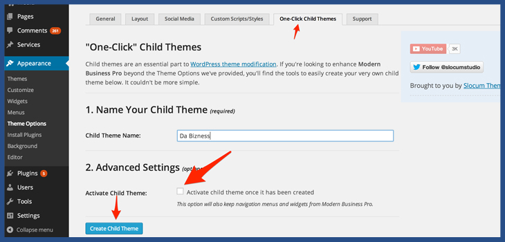 Create a child theme css
