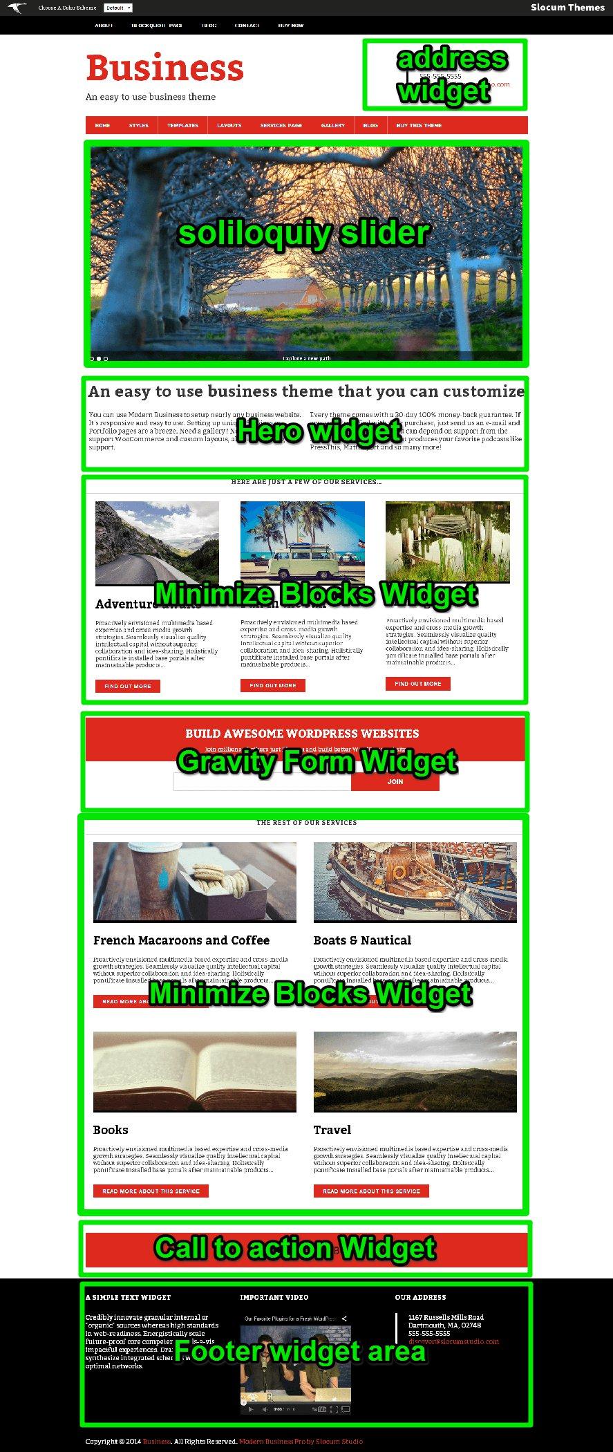 Modern Business Homepage widget guide