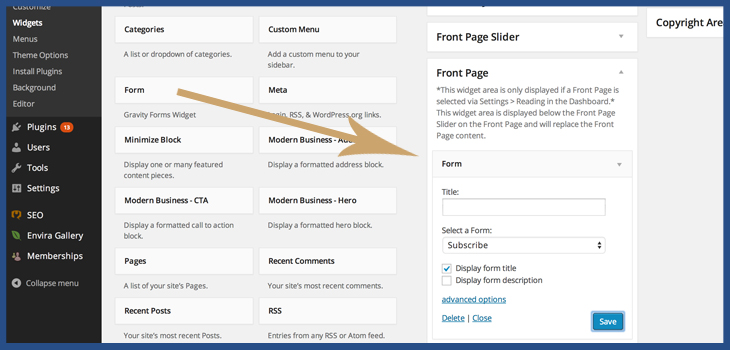 Place Newsletter form in a widget area wordpress