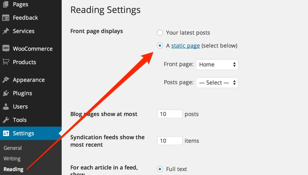 WordPress Front Page Reading Settings