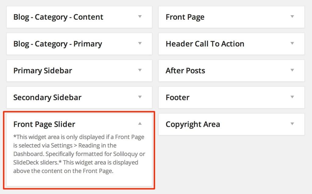 Front Page Slider widget area wordpress