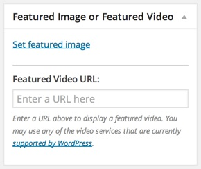 Set featured hd video wordpress