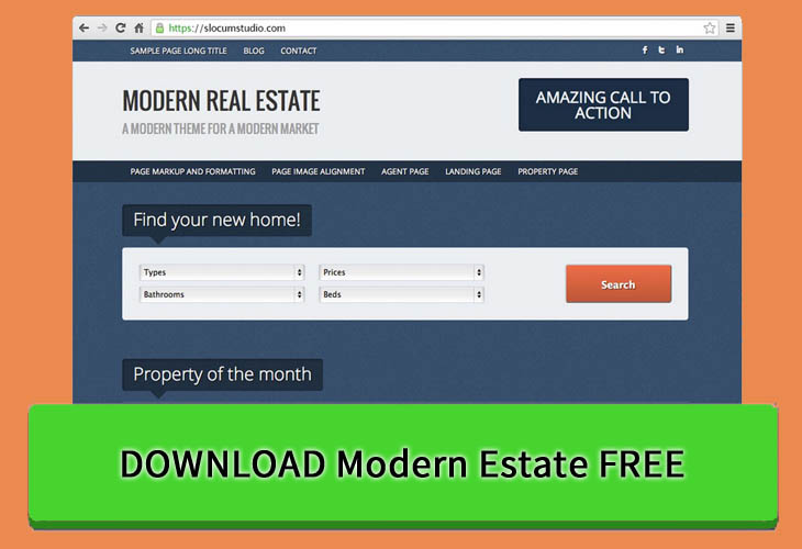 Get Free Modern Estate WordPress Theme