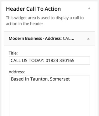 Header Call to Action Address