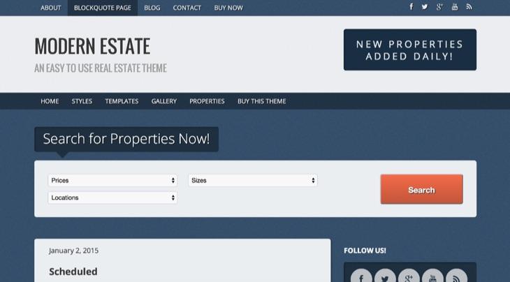 Modern Estate WordPress Theme