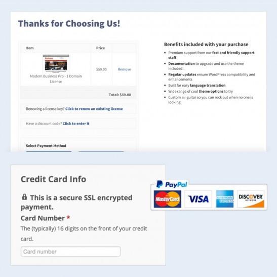 Checkout Page WordPress website
