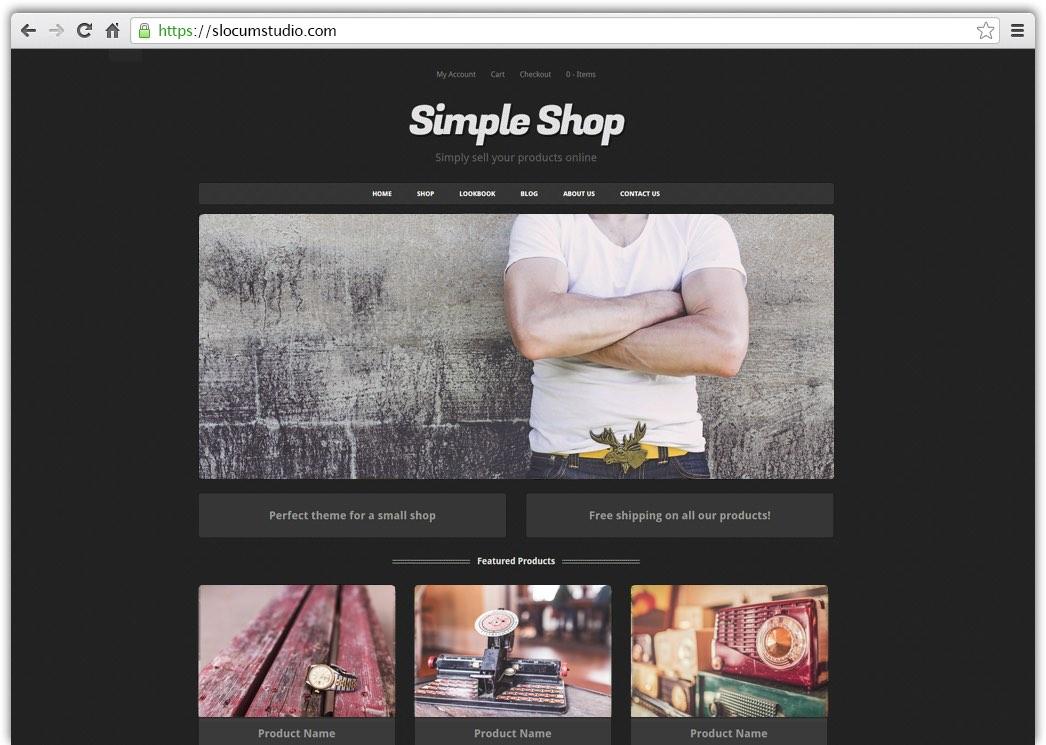 simple shop pro wordpress theme slocum themes. Black Bedroom Furniture Sets. Home Design Ideas