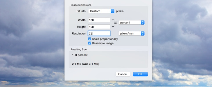 Optimize and resize images with Apple Preview