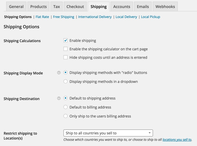 Shipping Options WooCommerce