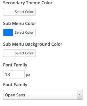 secondary menu customizer