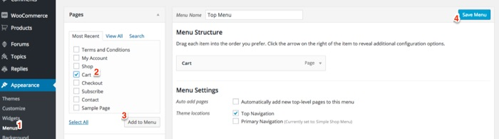 Add WooCommerce cart to the menu