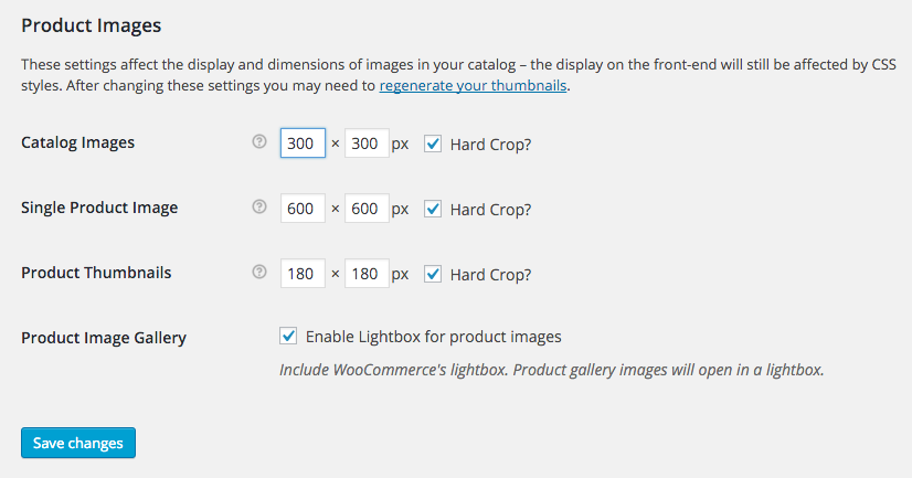 WooCommerce Product Image Sizes