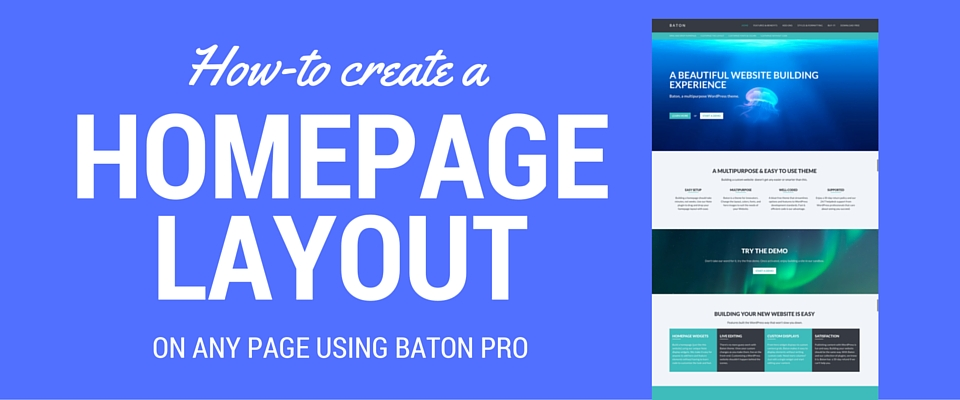 how to create a homepage layout on any page